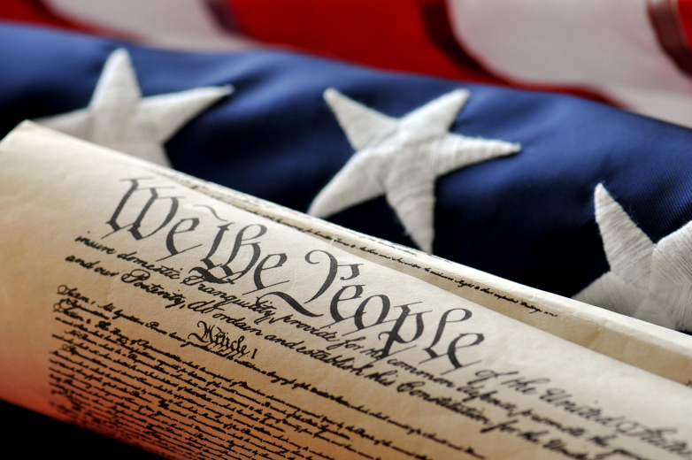 United-States-Constitution-and-flag--famous-US-document